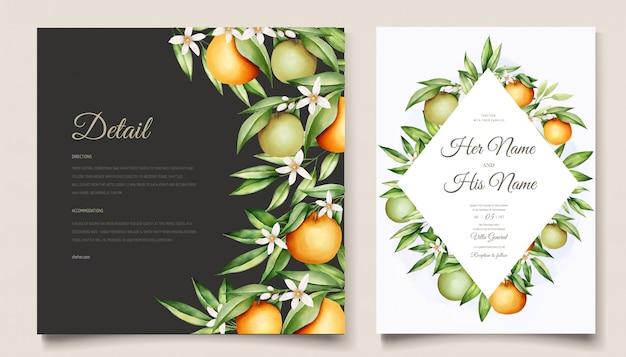 Botanical watercolor orange fruits wedding invitation card template Free Vector