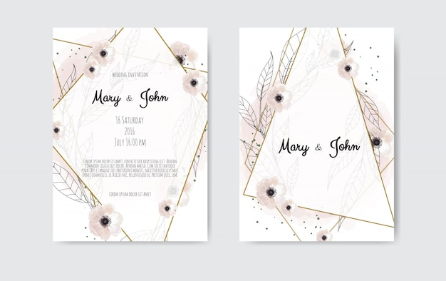 Botanical wedding invitation card template design, white and pink flowers Premium Vector