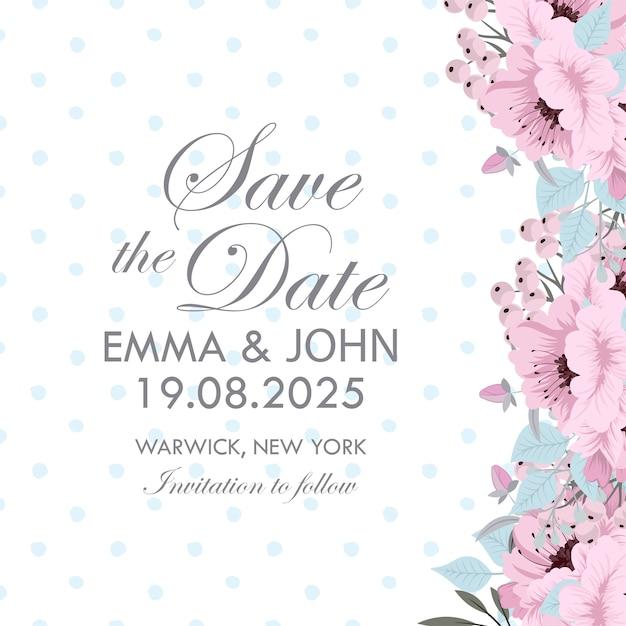 Botanical wedding invitation card template design Free Vector