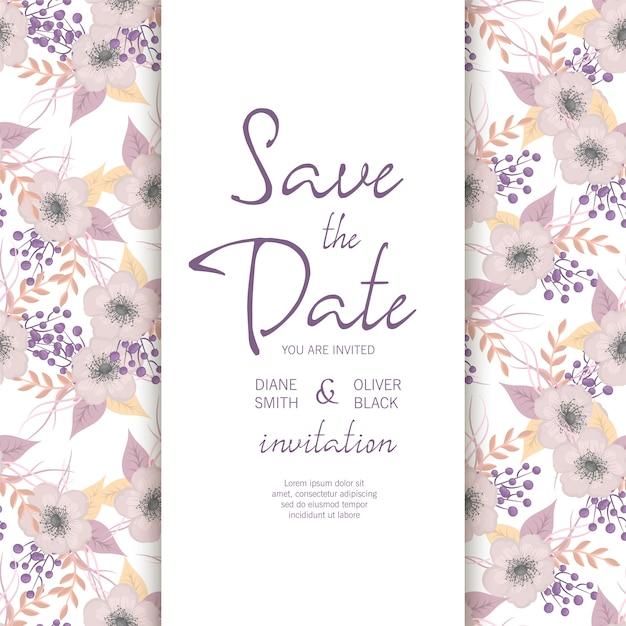 Botanical wedding invitation card template design Premium Vector