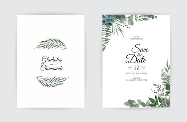 Botanical wedding invitation card template design. Premium Vector