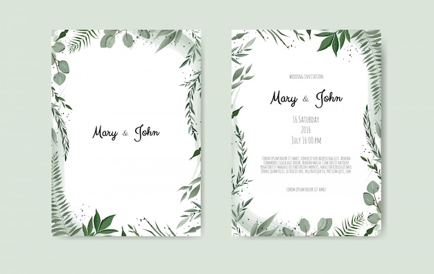 Botanical wedding invitation card template Premium Vector