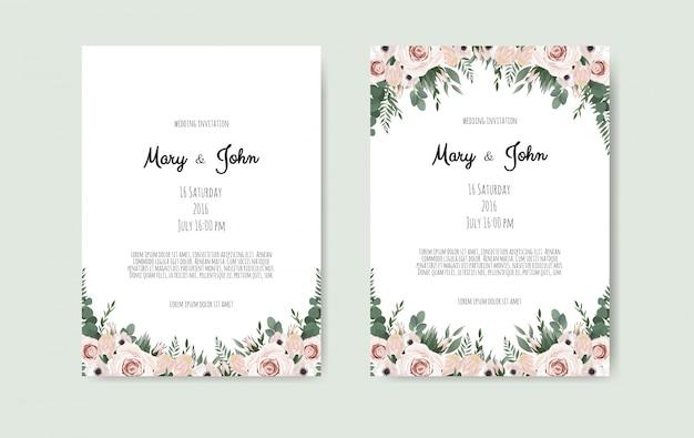 Botanical wedding invitation card Premium Vector