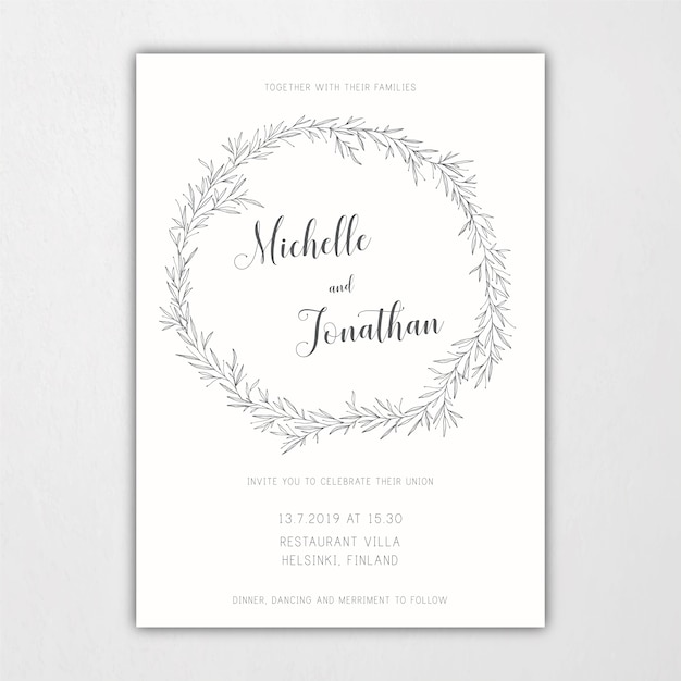 botanical wedding invitation template with leaves and branches