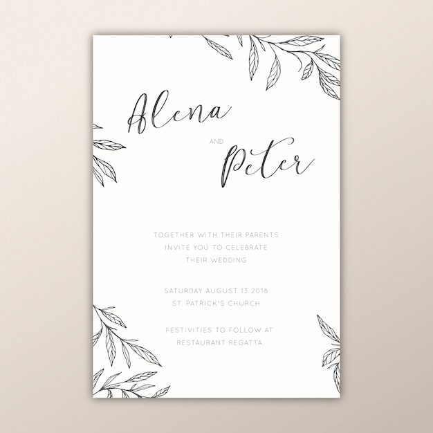 Botanical wedding invitations with hand drawn branches Free Vector