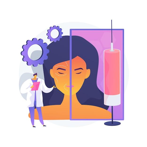 Illustrazione di vettore di concetto astratto di iniezione di botox. procedura di bellezza, filler ialuronico e collagene, lifting del viso donna, trattamento antietà, medicina estetica, metafora astratta delle rughe degli occhi. Vettore gratuito