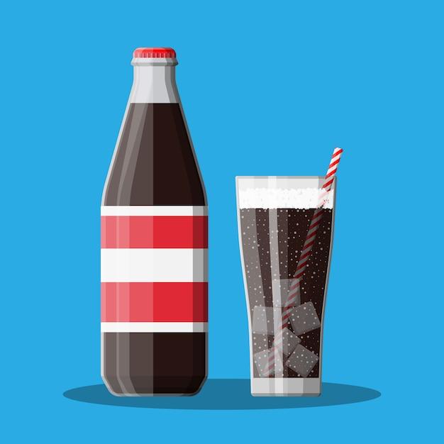 ボトルとグラスにコーラとストライプのストロー。 Premiumベクター