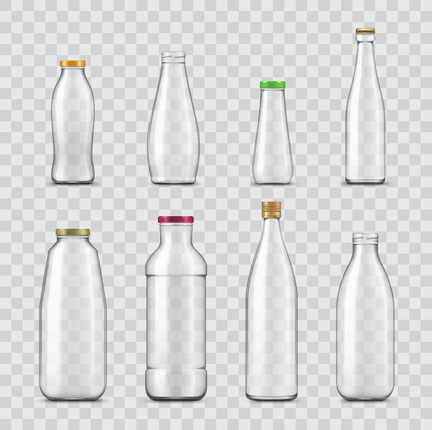 Бутылка и банка реалистичные стеклянной тары, изолированные на прозрачном фоне. Premium векторы