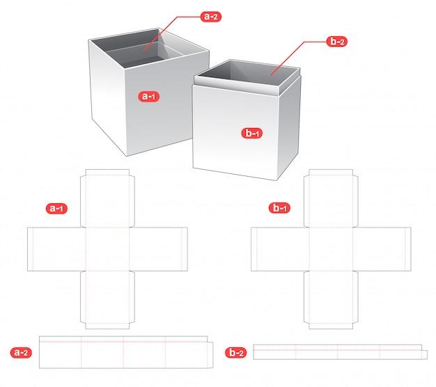Bottle box and lid die cut template design Premium Vector