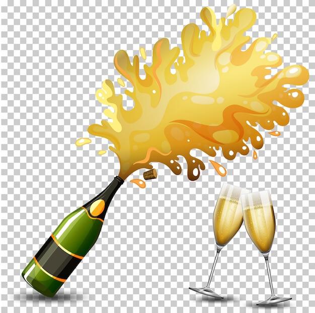 Bottle of champagne drink Premium Vector