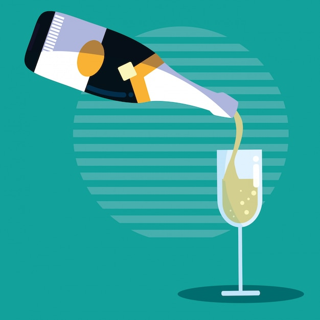 Bottle of champagne with cup Premium Vector