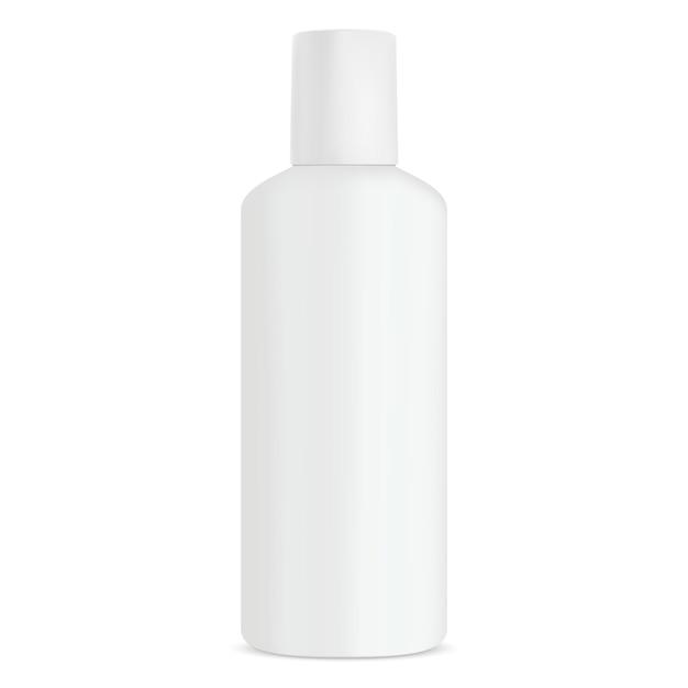 Bottle cosmetic shampoo white product Premium Vector