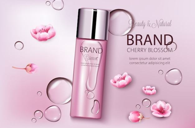 Bottle of cosmetics cherry blossom. product placement. natural beauty. place for brand. water drops background. realistic s Free Vector