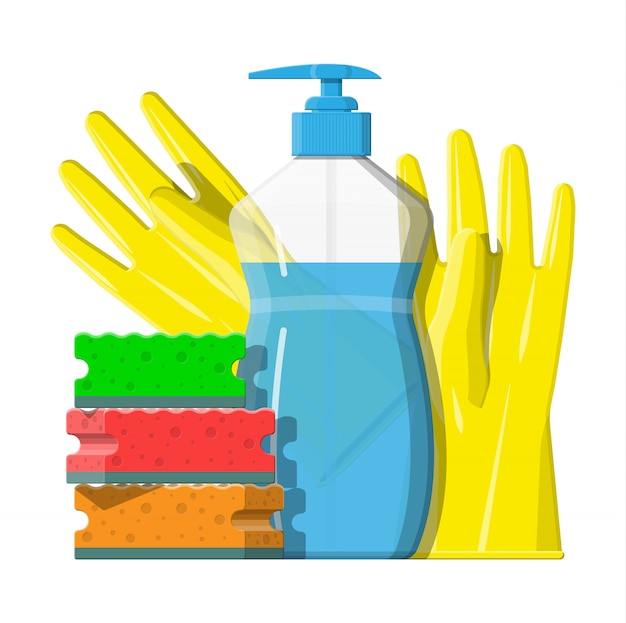 Bottle of detergent, sponge and rubber gloves. Premium Vector