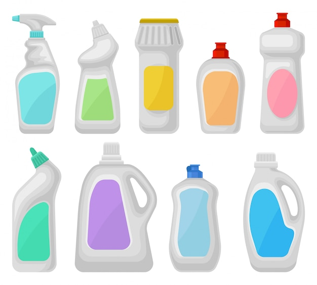 Bottle of detergents set, household cleaning chemical product containers  illustrations on a white background Premium Vector