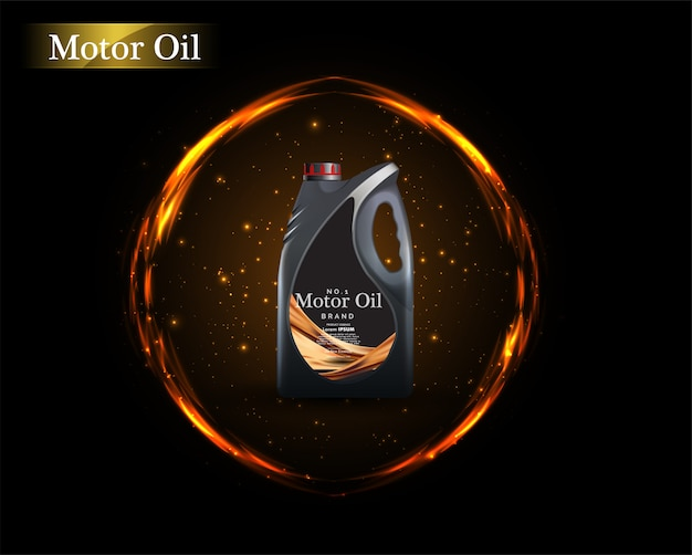 Bottle engine oil on a background a motor-car piston, technical illustrations. Premium Vector