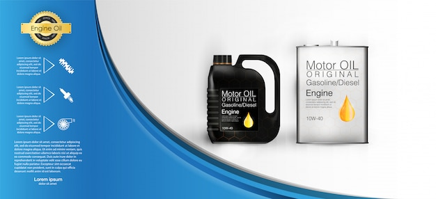 Bottle engine oil canister of engine motor oil, full synthetic clinging molecules protection. Premium Vector