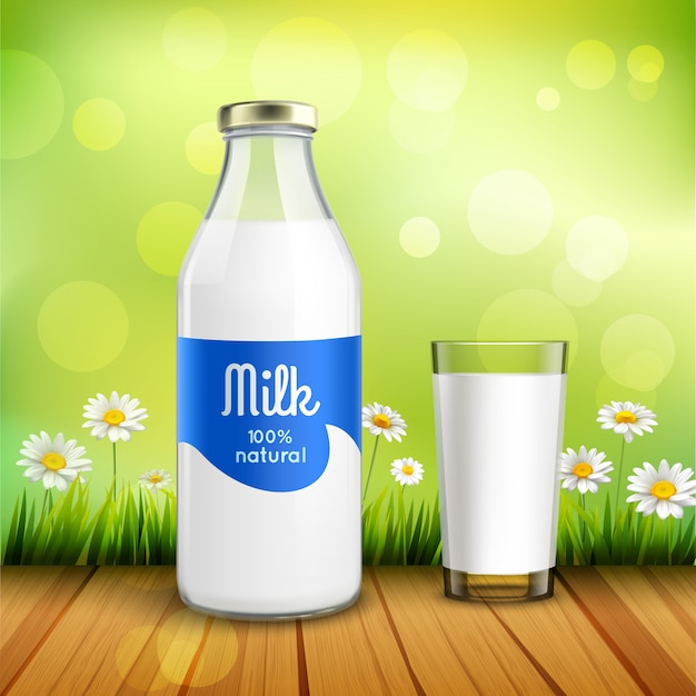 Bottle and glass of milk Free Vector