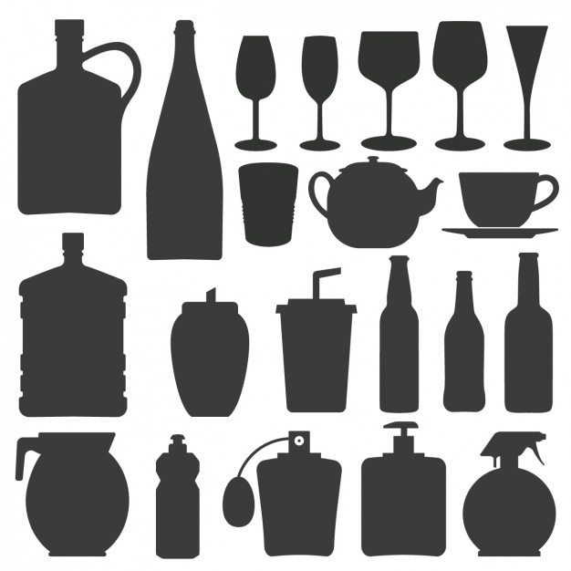 Bottle and glass silhouettes collection Free Vector