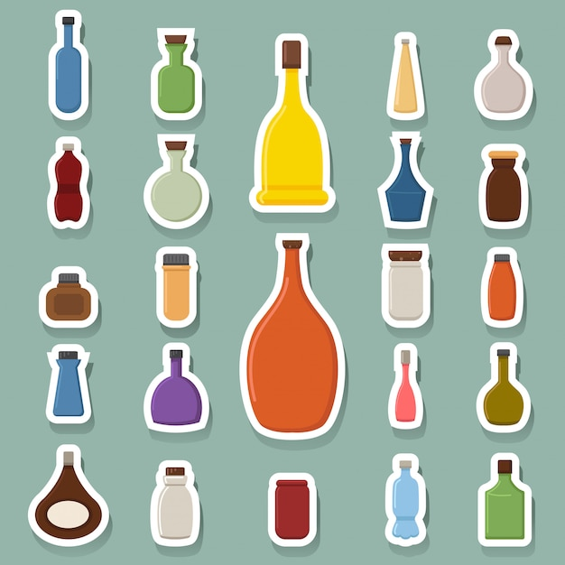 Bottle icons Premium Vector