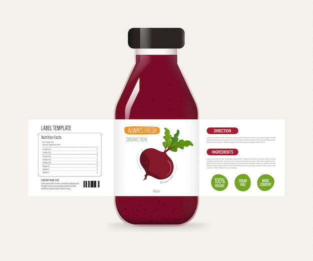 Bottle label of juice smoothie drink. Premium Vector