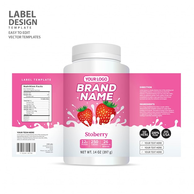 Bottle label Premium Vector