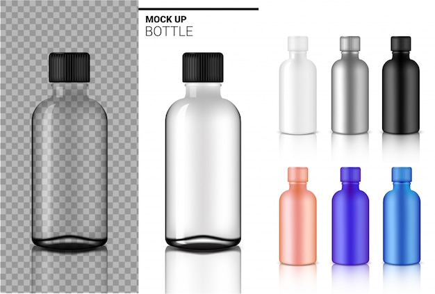 Bottle mock up realistic transparent white, black and glass ampoule or dropper plastic packaging Premium Vector
