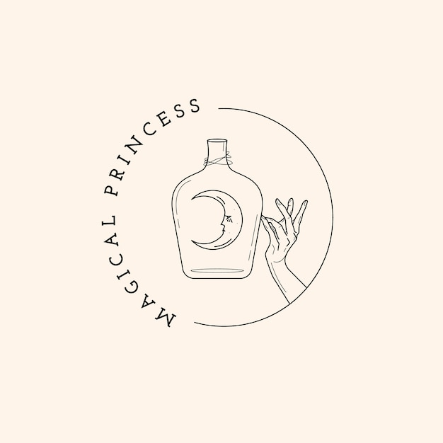 Бутылка, луна и волшебный логотип руки Premium векторы