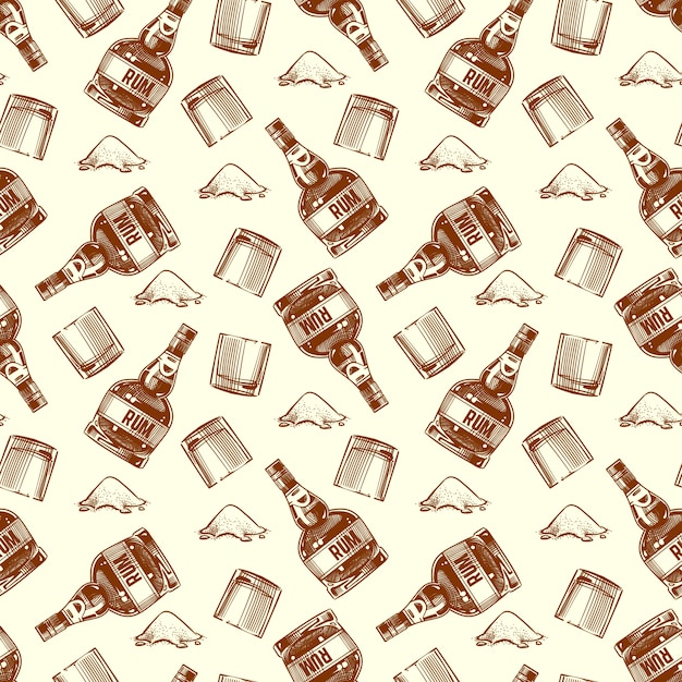 ラム酒とコカインのシームレスパターンのボトル Premiumベクター