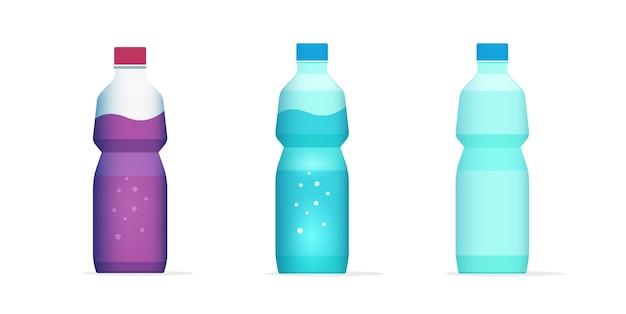Бутылка воды, сок пить напиток плоский мультфильм полный и пустой значок Premium векторы