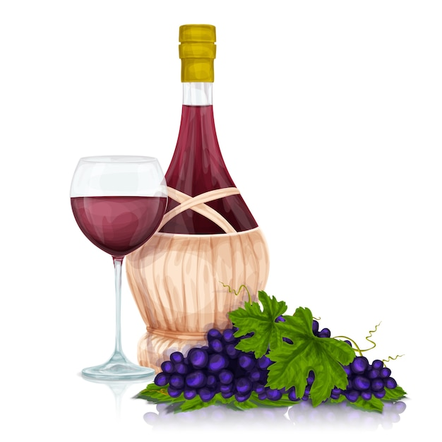 Bottle of wine with a glass and grapes