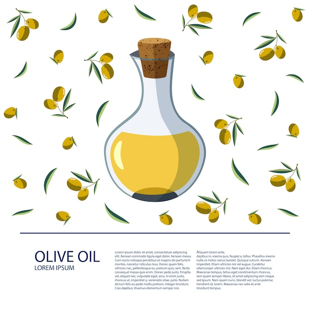 A Bottle Of Olive Oil On A White Background Vector