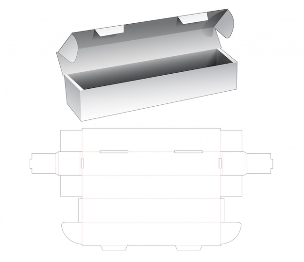 Bottle packaging box die cut template Premium Vector