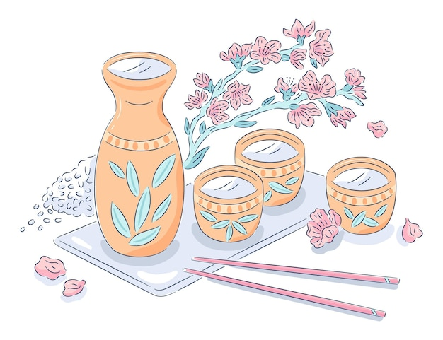 Bottle of sake with cups Free Vector