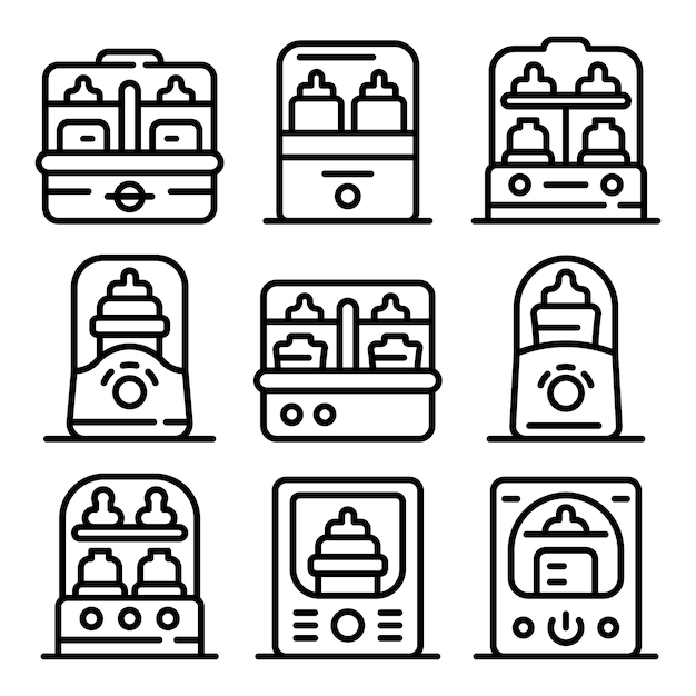 Bottle sterilizer icons set Premium Vector