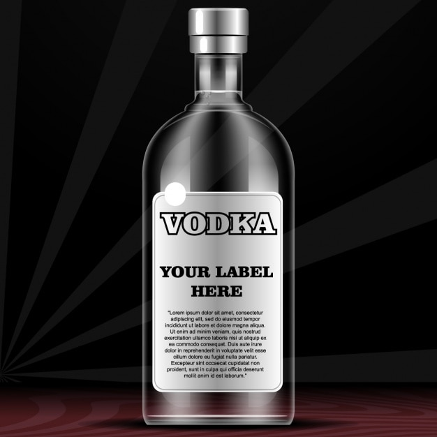 Bottle for vodka with label Free Vector