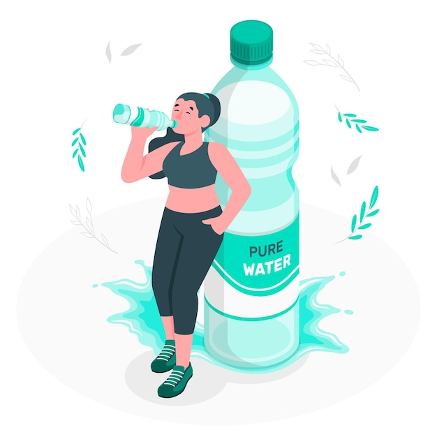 Bottle of water concept illustration Free Vector