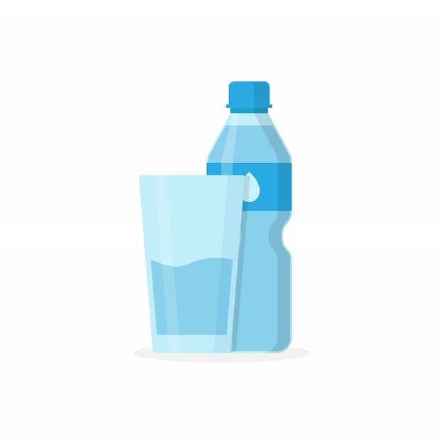 Bottled water drink and glass containing water drink Premium Vector