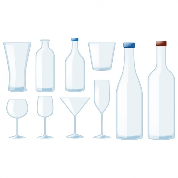 Bottles and glasses collection Free Vector