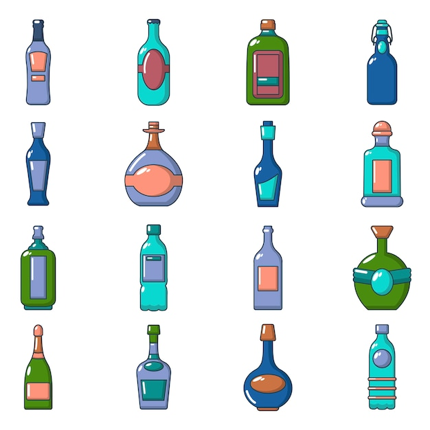 Bottles icons set Premium Vector
