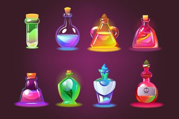 마법의 물약 병 세트. 사랑의 비약과 함께 만화 항아리, 어두운 보라색 배경에 코르크와 유리 화학 튜브. 무료 벡터