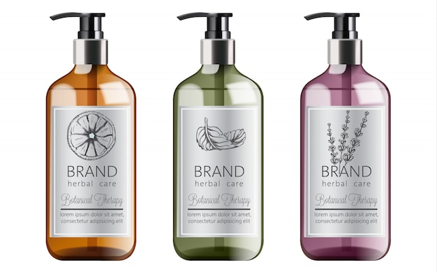 Bottles of organic shampoo with herbal care. various plants and colors. mint, orange and lavender Free Vector