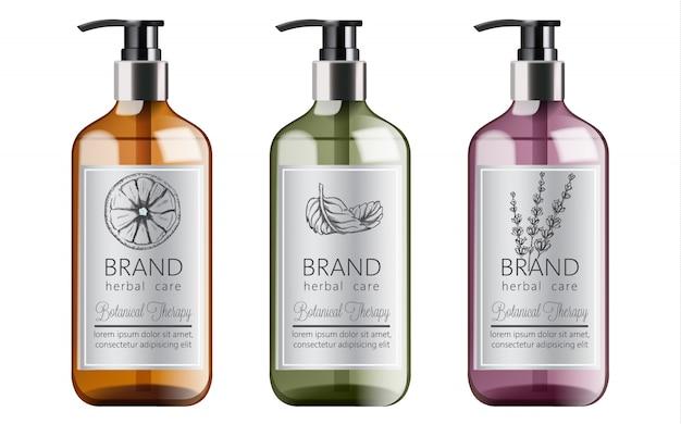 Bottiglie di shampoo biologico con cura a base di erbe. varie piante e colori. menta, arancia e lavanda Vettore gratuito