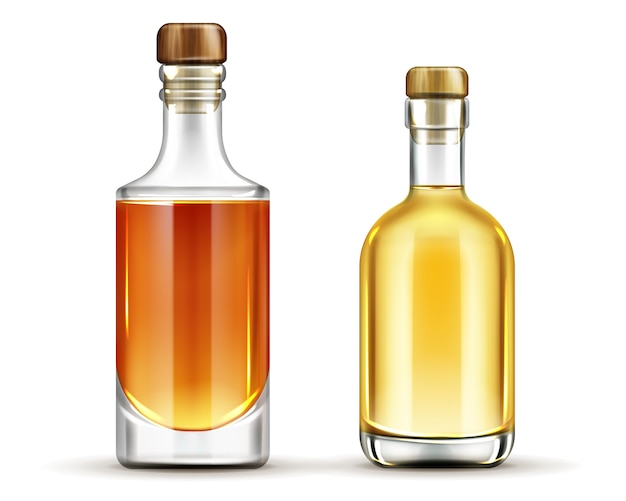 Bottles of tequila, whiskey, bourbon alcohol drinks set Free Vector