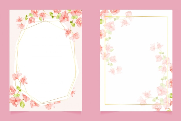 結婚式の招待カード5 x 7テンプレートコレクションのゴールデンフレームとブーゲンビリア水彩画 Premiumベクター