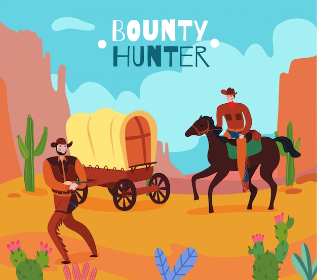 Bounty hunter illustration in the grand canyon Free Vector