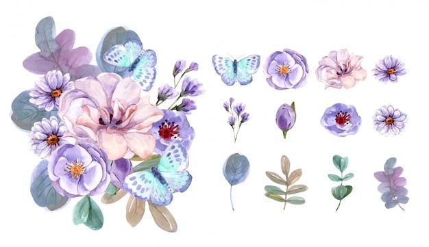 꽃다발과 꽃 요소 수채화 세트입니다. 프리미엄 벡터