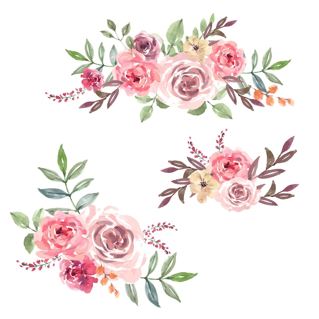 특별한 날, 창의적인 수채화를위한 꽃다발 카드 무료 벡터