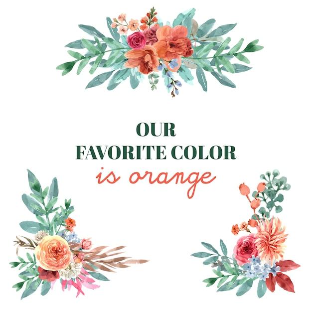 Дизайн букета с цветочной тлеющей тлеющей концепцией, акварельной иллюстрацией. Бесплатные векторы