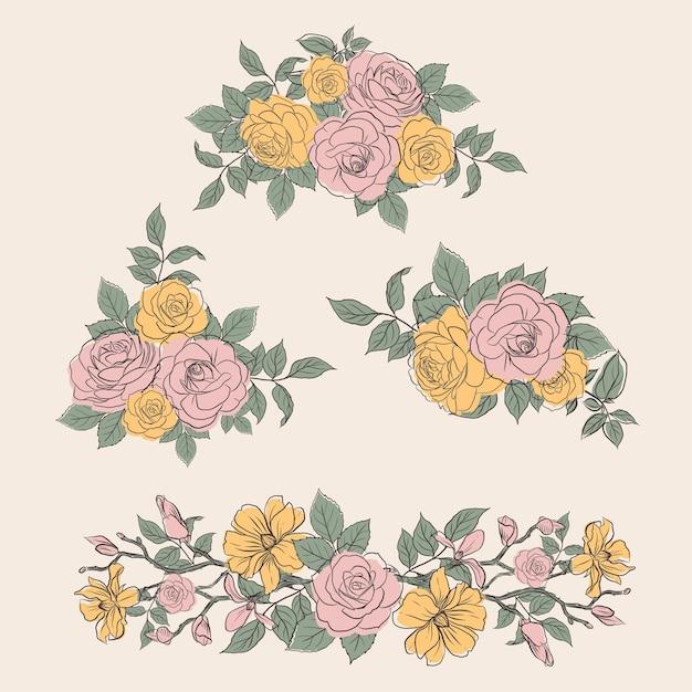 봄 라인 아트 컨셉 디자인 수채화 일러스트와 함께 꽃 꽃다발 무료 벡터
